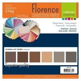 """Florence Cardstock 216g 12x12"""" - 24 vel Multipack Bruin"""