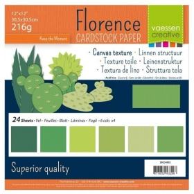 """Florence Cardstock 216g 12x12"""" - 24 vel Multipack Groen"""