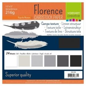 """Florence Cardstock 216g 12x12"""" - 24 vel Multipack Zwart"""