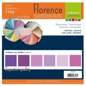 "Florence Cardstock 216g 12x12"" - 24 vel Multipack Paars"