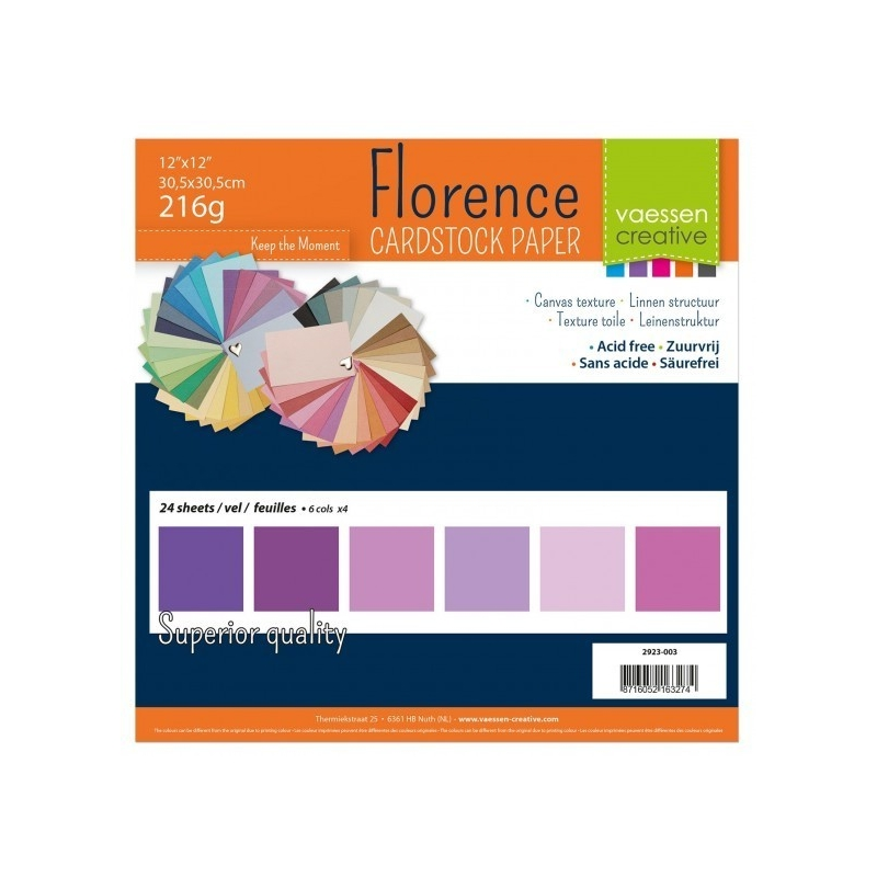 """Florence Cardstock 216g 12x12"""" - 24 vel Multipack Paars"""