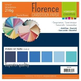 "Florence Cardstock 216g 12x12"" - 24 vel Multipack Blauw"
