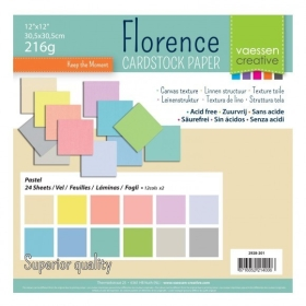 "Florence Cardstock 216g 12x12"" - 24 vel Multipack Pastel"
