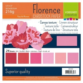 "Florence Cardstock 216g 12x12"" - 24 vel Multipack Roze"