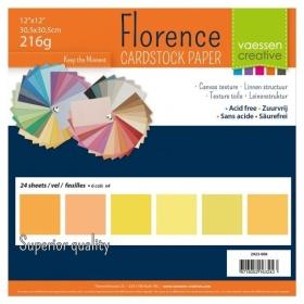 "Florence Cardstock 216g 12x12"" - 24 vel Multipack Geel"