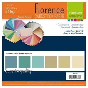 "Florence Cardstock 216g 12x12"" - 24 vel Multipack Aarde"