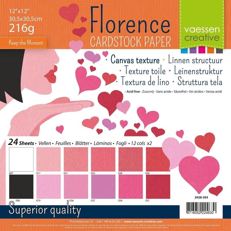 "Florence Cardstock 12x12"" 216gram - 24 vel Multipack Valentine"
