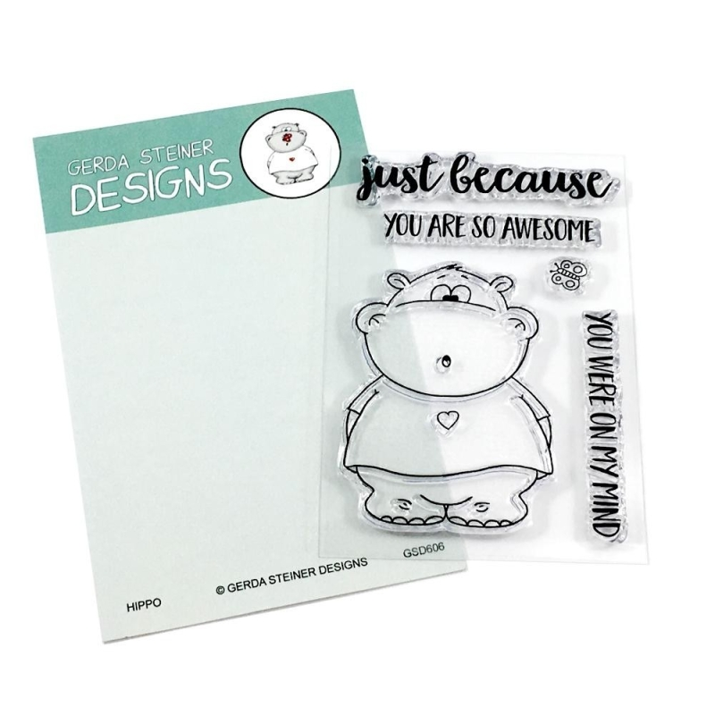 Hippo With Butterfly 3x4 Clear Stamp Set