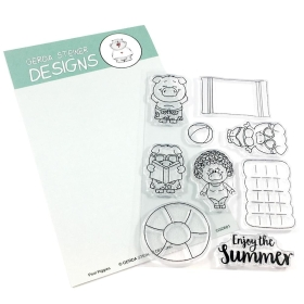 Pool Piggies 4x6 Clear Stamp Set