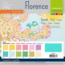 "Florence Cardstock 216g 12x12"" - 60 Vel Multipack Spring"