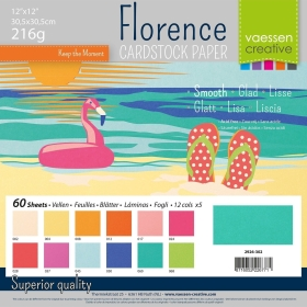 "Florence Cardstock 216g 12x12"" - 60 vel Multipack Summer Smooth"