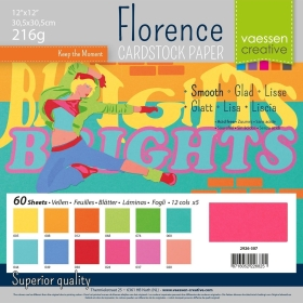 "Florence Cardstock 216g 12x12"" - 60 vel Multipack Brights Smooth"