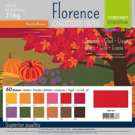 "Florence Cardstock 216g 12x12"" - 60 vel Multipack Autumn Smooth"