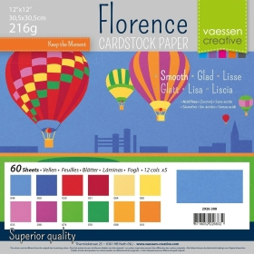 "Florence Cardstock 216g 12x12"" - 60 vel Multipack Primary Smooth"