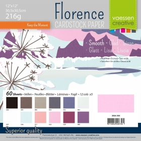"Florence Cardstock 216g 12x12"" - 60 vel Multipack Winter Smooth"