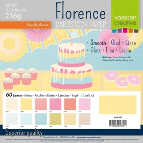 "Florence Cardstock 216g 12x12"" - 60 vel Multipack Pastel Smooth"