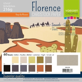 "Florence Cardstock 216g 12x12"" - 60 vel Multipack Earth Tones Smooth"