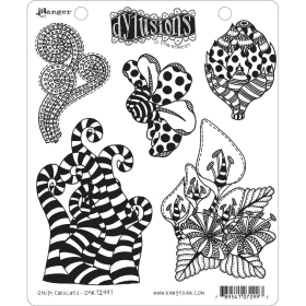 Stripy Curlicues Cling Stamps